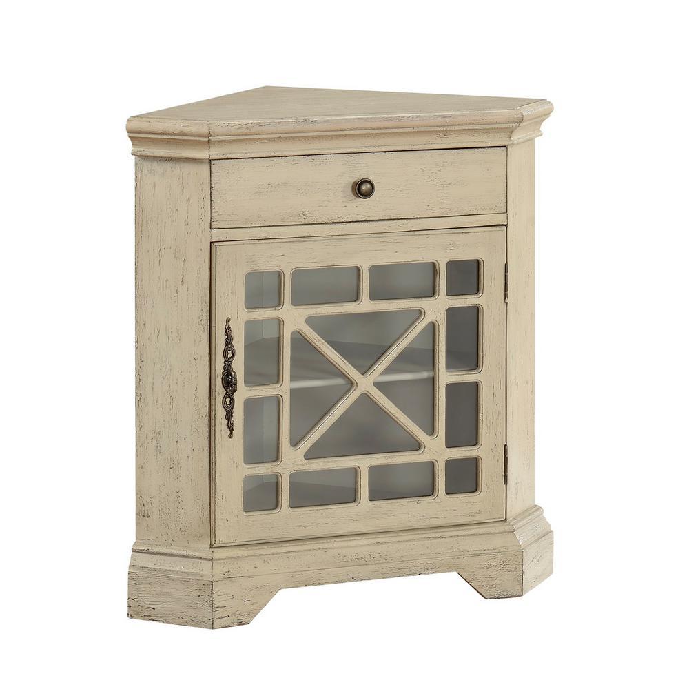Milstone Texture Ivory 1-Drawer 1-Door Corner Cabinet