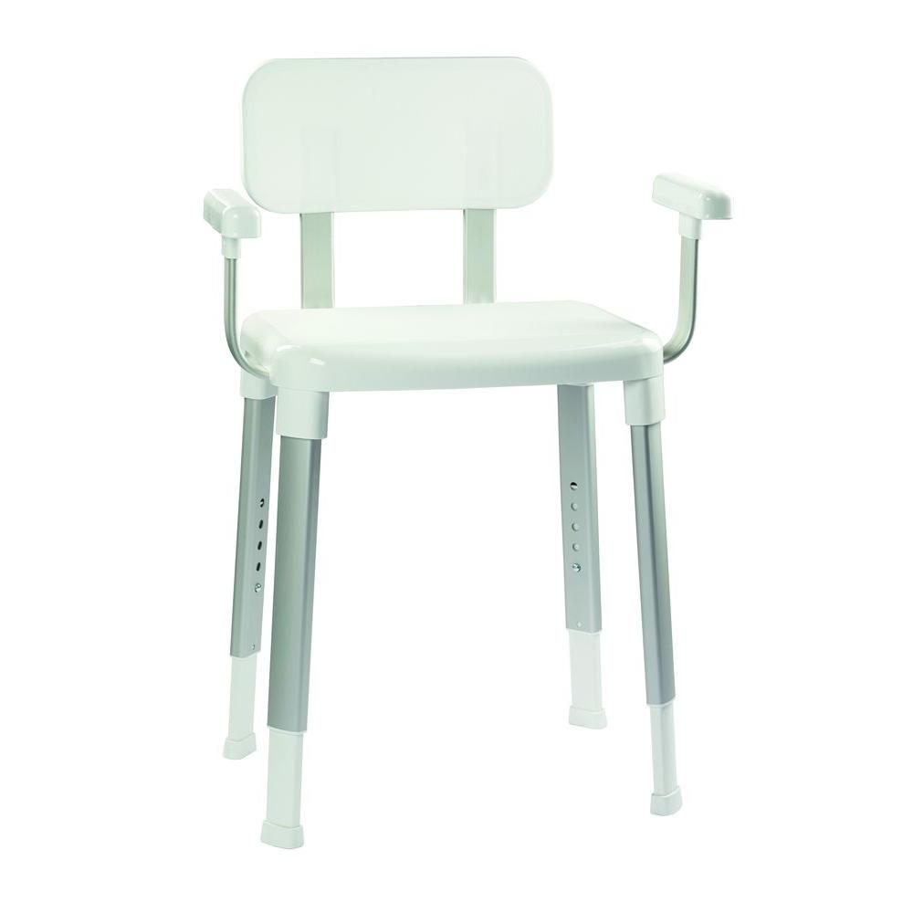 Croydex Adjustable Shower Seat with Arms in White