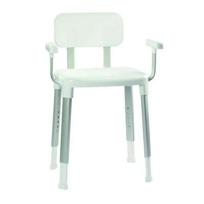 Adjustable Shower Seat with Arms in White