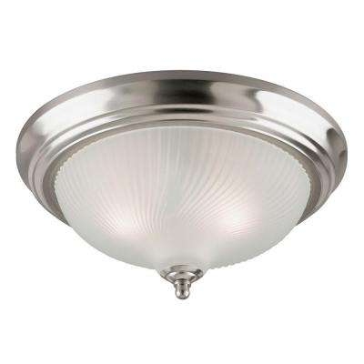 3-Light Brushed Nickel Interior Ceiling Flushmount with Frosted Swirl Glass