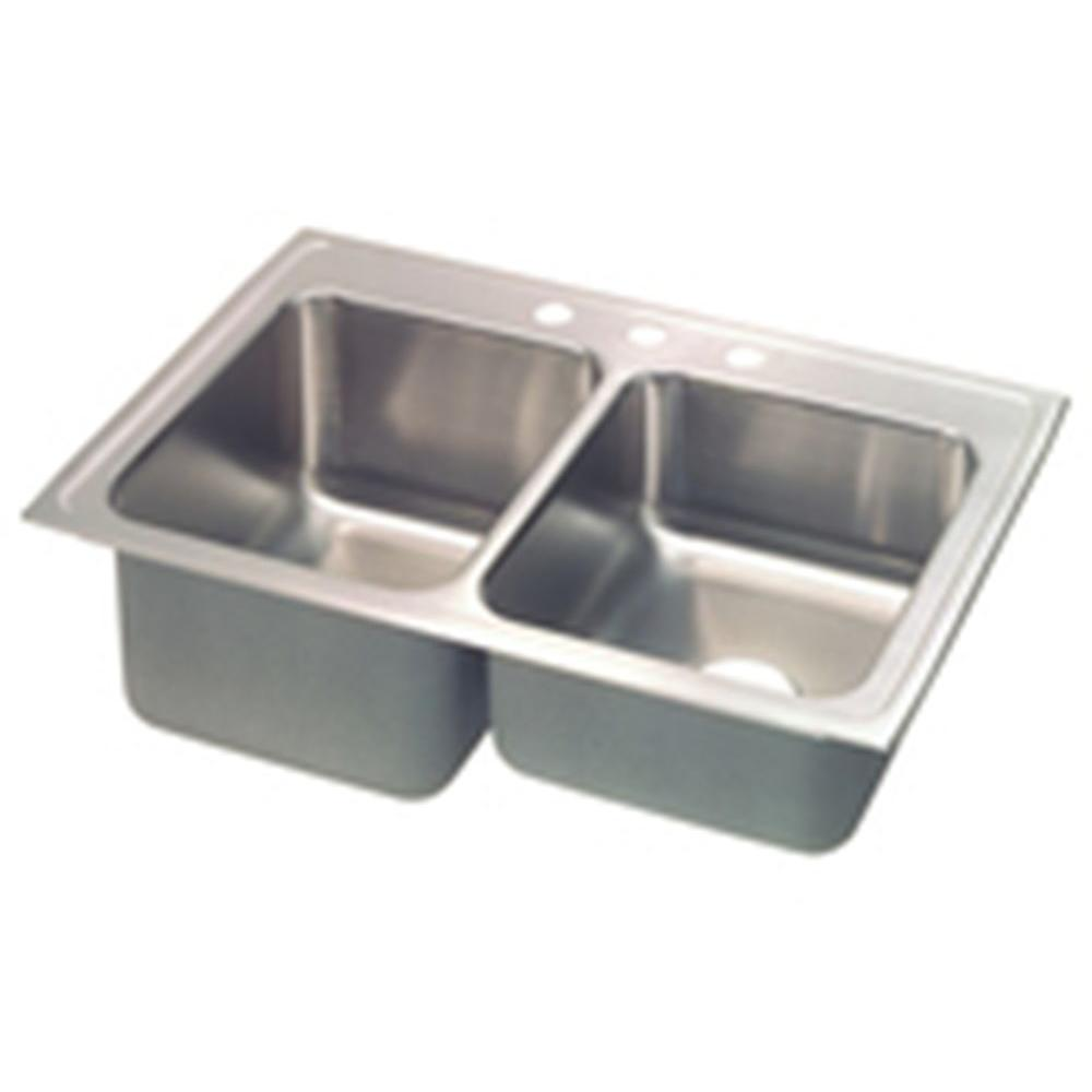 Elkay Lustertone Drop-In Stainless Steel 33 in. 4-Hole Double Bowl Kitchen Sink