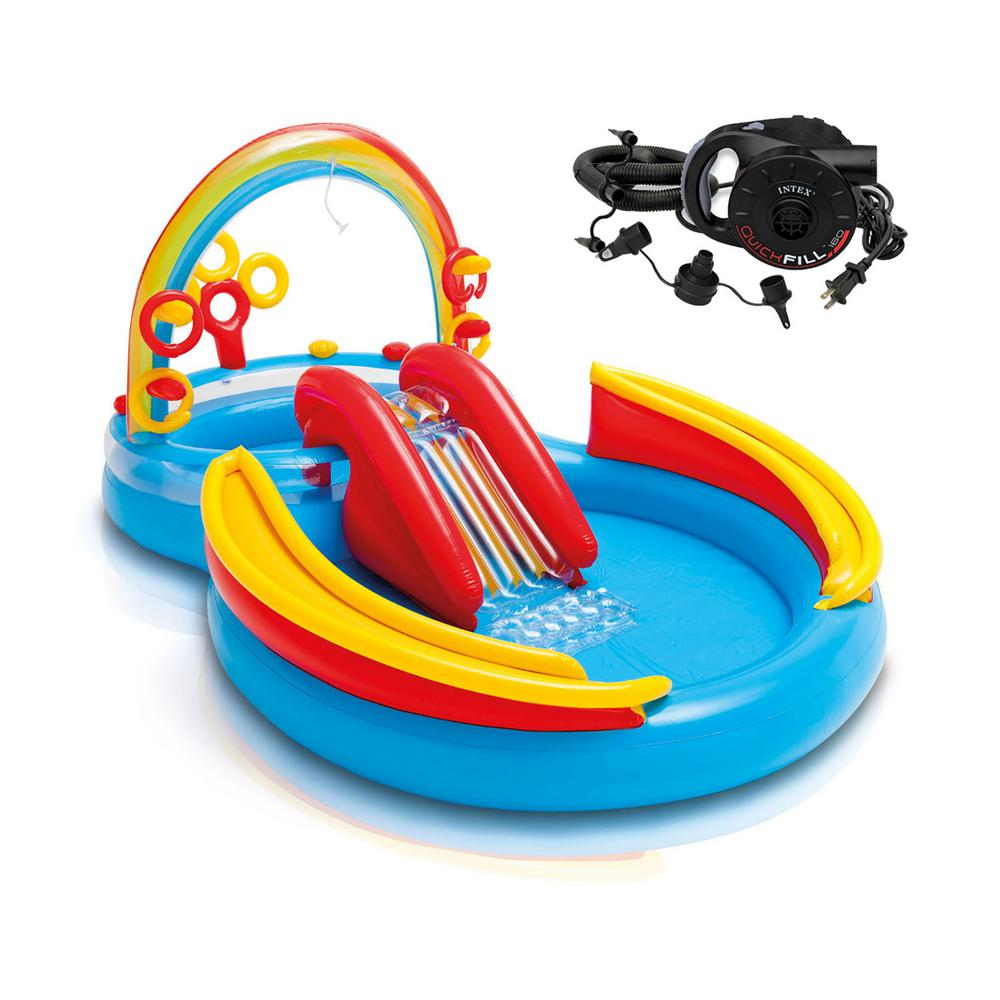 Intex 76 in. x 53 in. Deep Inflatable Pool Water Play Rainbow Ring Center Slide with Electric Air Pump