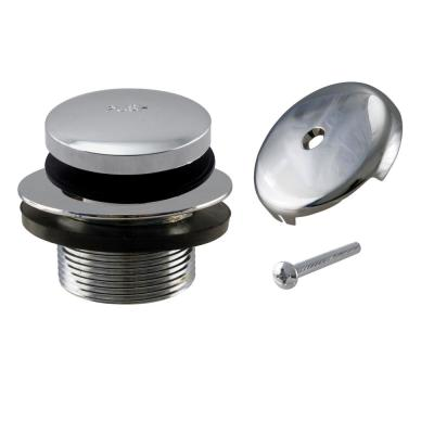 1-1/2 in. NPSM Coarse Thread Tip-Toe Bathtub Drain Plug with 1-Hole Overflow Faceplate in Polished Chrome
