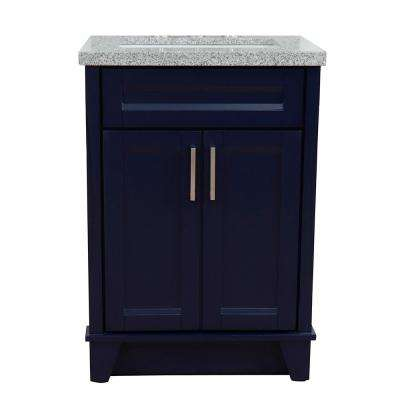 25 in. W x 22 in. D Single Bath Vanity in Blue with Granite Vanity Top in Gray with White Rectangle Basin