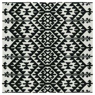 square 1'-6' - black - outdoor rugs - rugs - the home depot