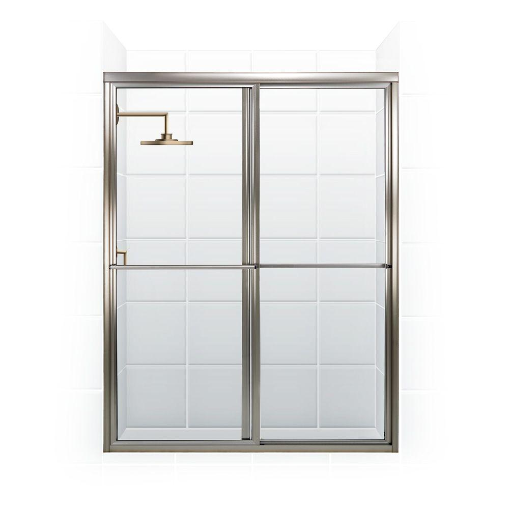 Coastal Shower Doors Newport Series 46 in. x 70 in. Framed Sliding Shower Door with Towel Bar in Brushed Nickel and Clear Glass