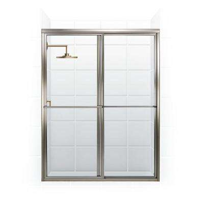 Newport Series 64 in. x 70 in. Framed Sliding Shower Door with Towel Bar in Brushed Nickel and Clear Glass