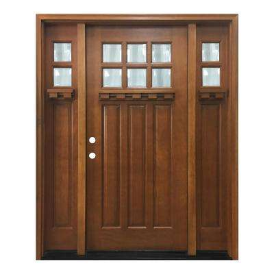 64 in. x 80 in. Craftsman Bungalow 6 Lite Right-Hand Inswing Wheat Stained Wood Prehung Front Door 12 in. Sidelites