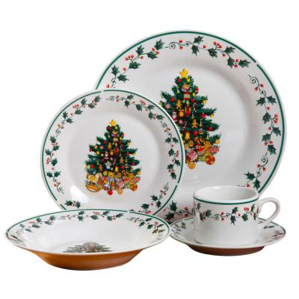 Tree Trimming 20-Piece Multi-Color Christmas Theme Dinnerware Set