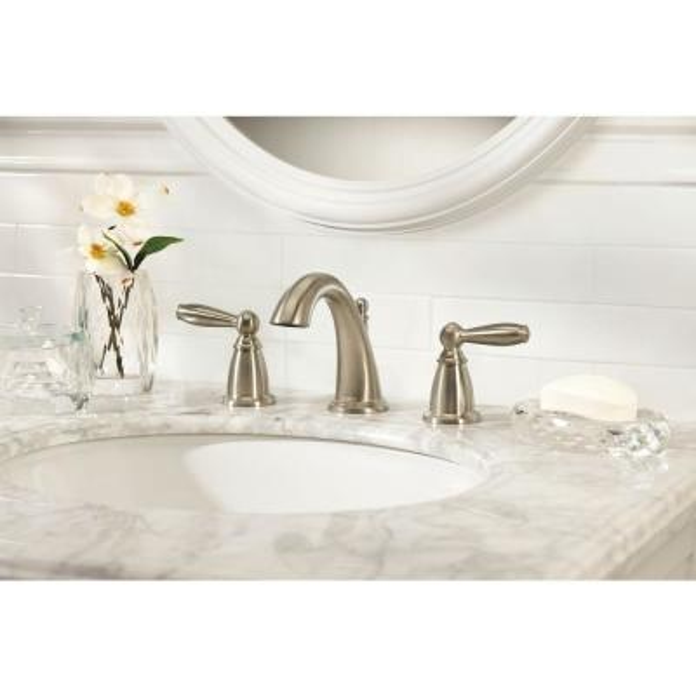Brantford 8 in. Widespread 2-Handle High-Arc Bathroom Faucet Trim Kit in Brushed Nickel (Valve Not Included)
