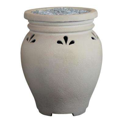 29 in. Outdoor Ceramic Gas Vase Fire Pit with Fire Stones