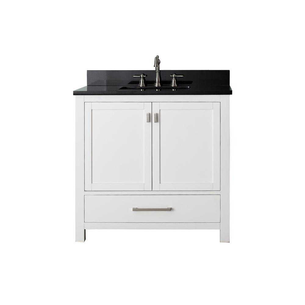 Avanity Modero 37 in. W x 22 in. D x 35 in. H Vanity in White with Granite Vanity Top in Black and White Basin
