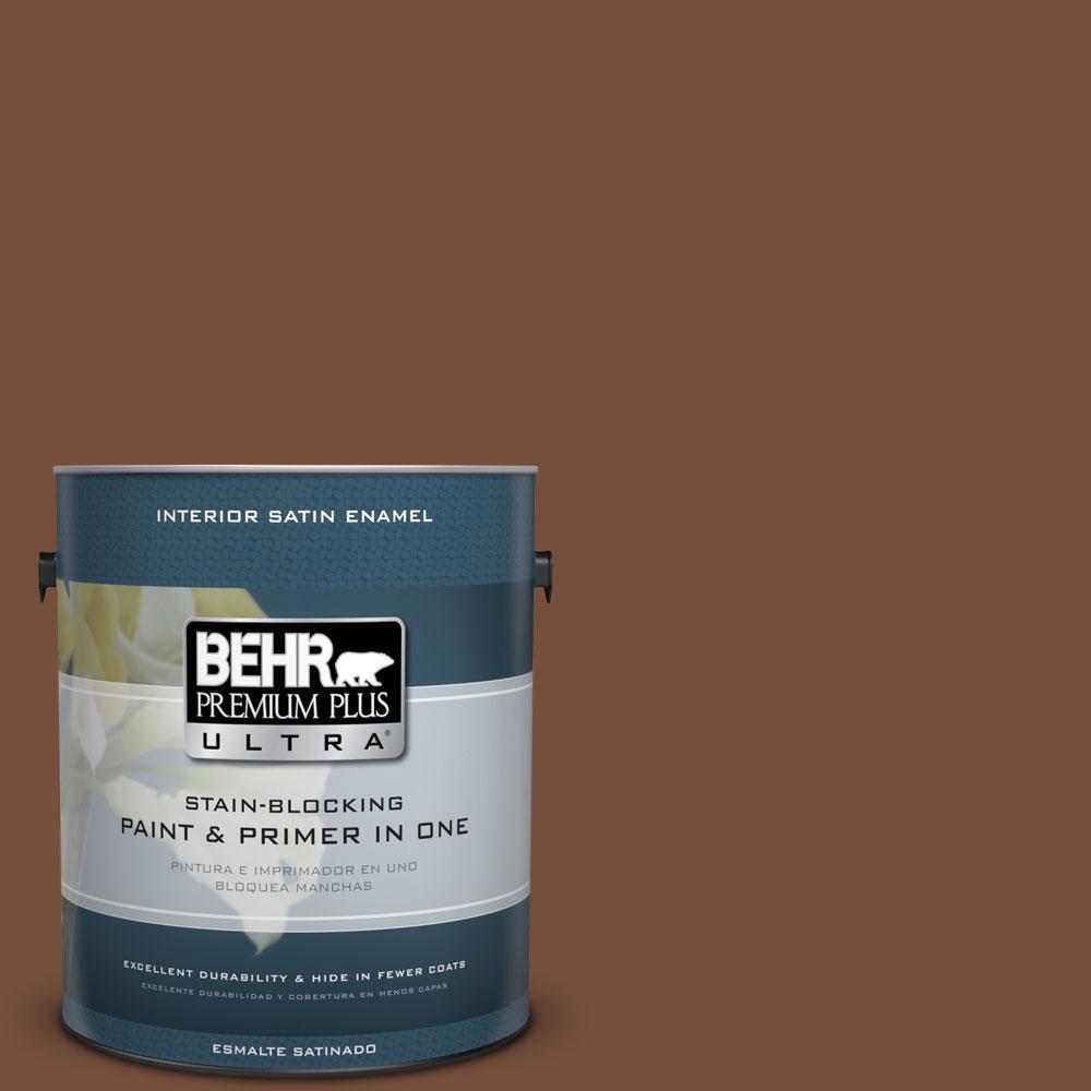 BEHR Premium Plus Ultra 1-gal. #240F-7 Root Beer Satin Enamel Interior Paint