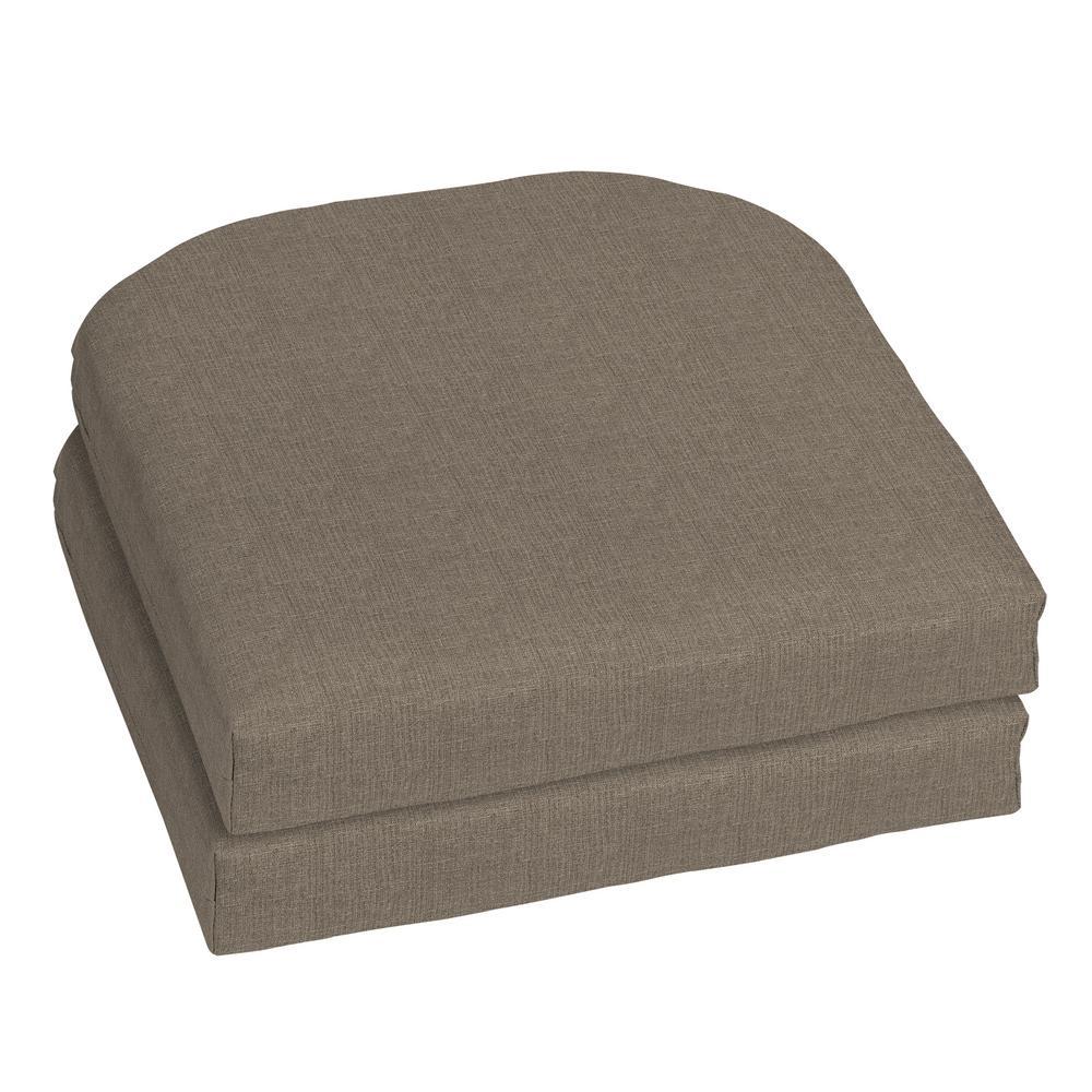 Sunbrella Cast Shale Contoured Outdoor Seat Cushion (2-Pack)