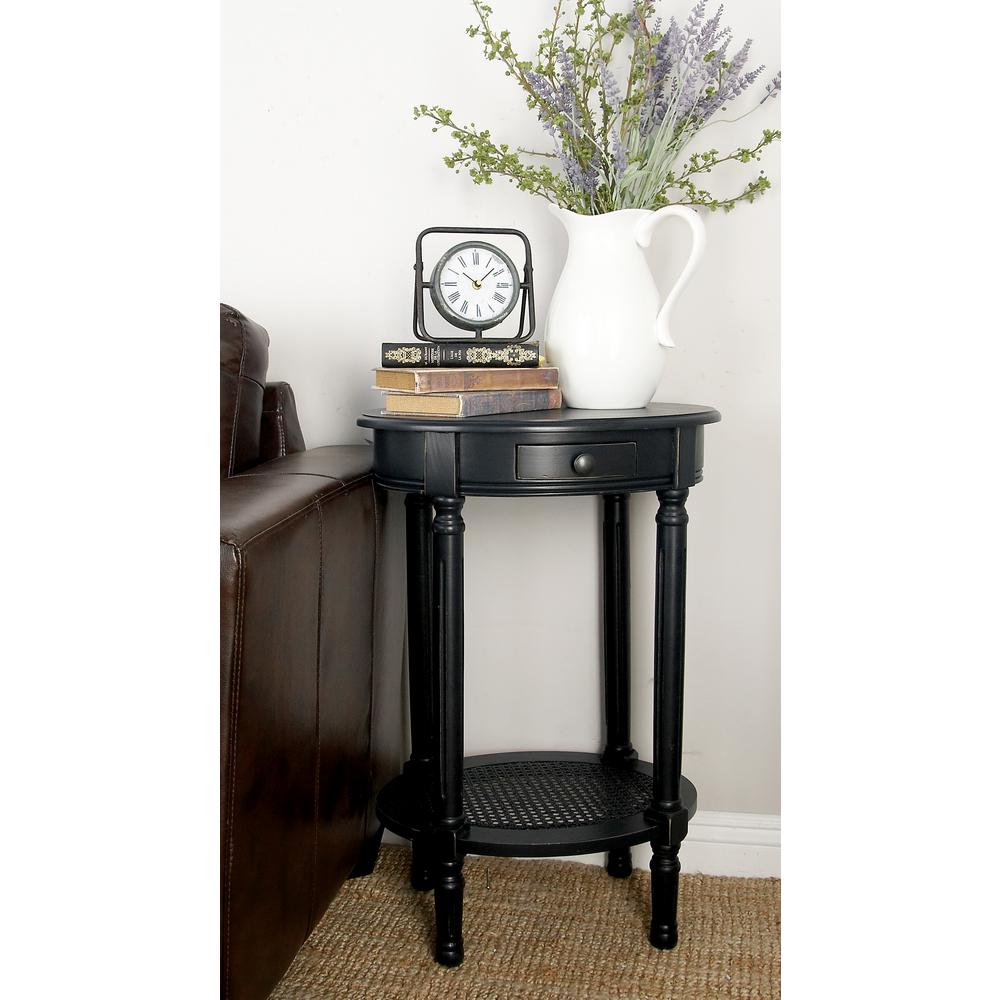 Black Wooden Round Accent Table