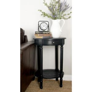 Black Wooden Round Accent Table by
