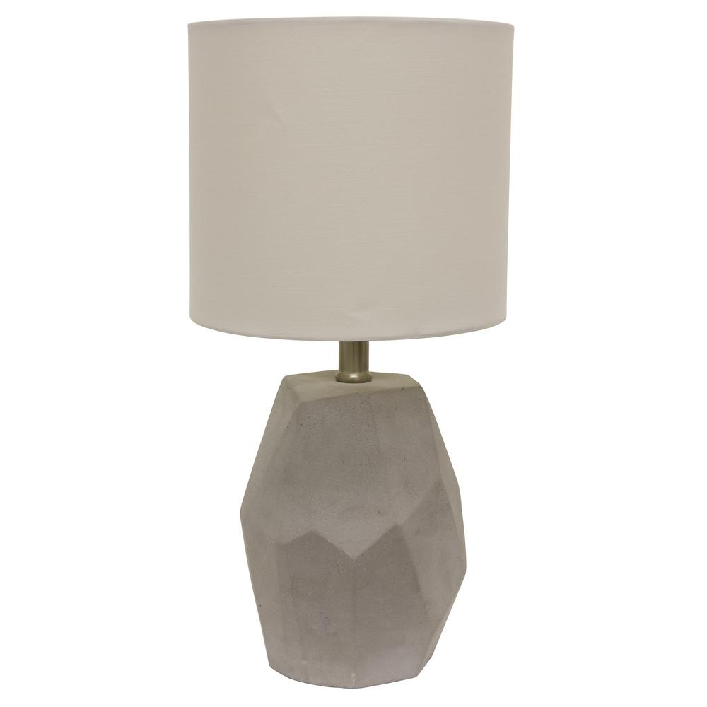 Decor therapy jamison cement 17 25 in gray table lamp with cotton shade