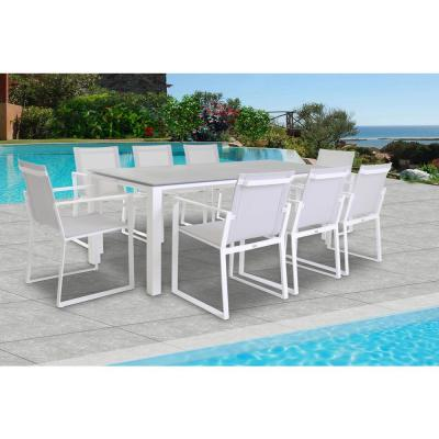 Primavera White 9-Piece Aluminum Outdoor Dining Set with Sling Set in Mouse Grey