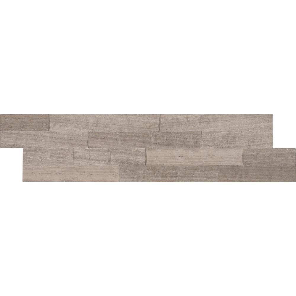 Gray Oak Splitface Ledger Panel 6 in. x 24 in. Marble Wall Tile (10 cases / 60 sq. ft. / pallet)