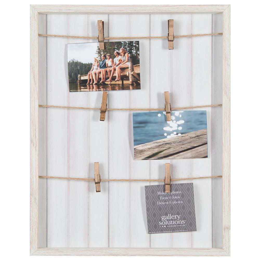Pinnacle Collage Whitewash Pallet with Clips Picture Frame ...