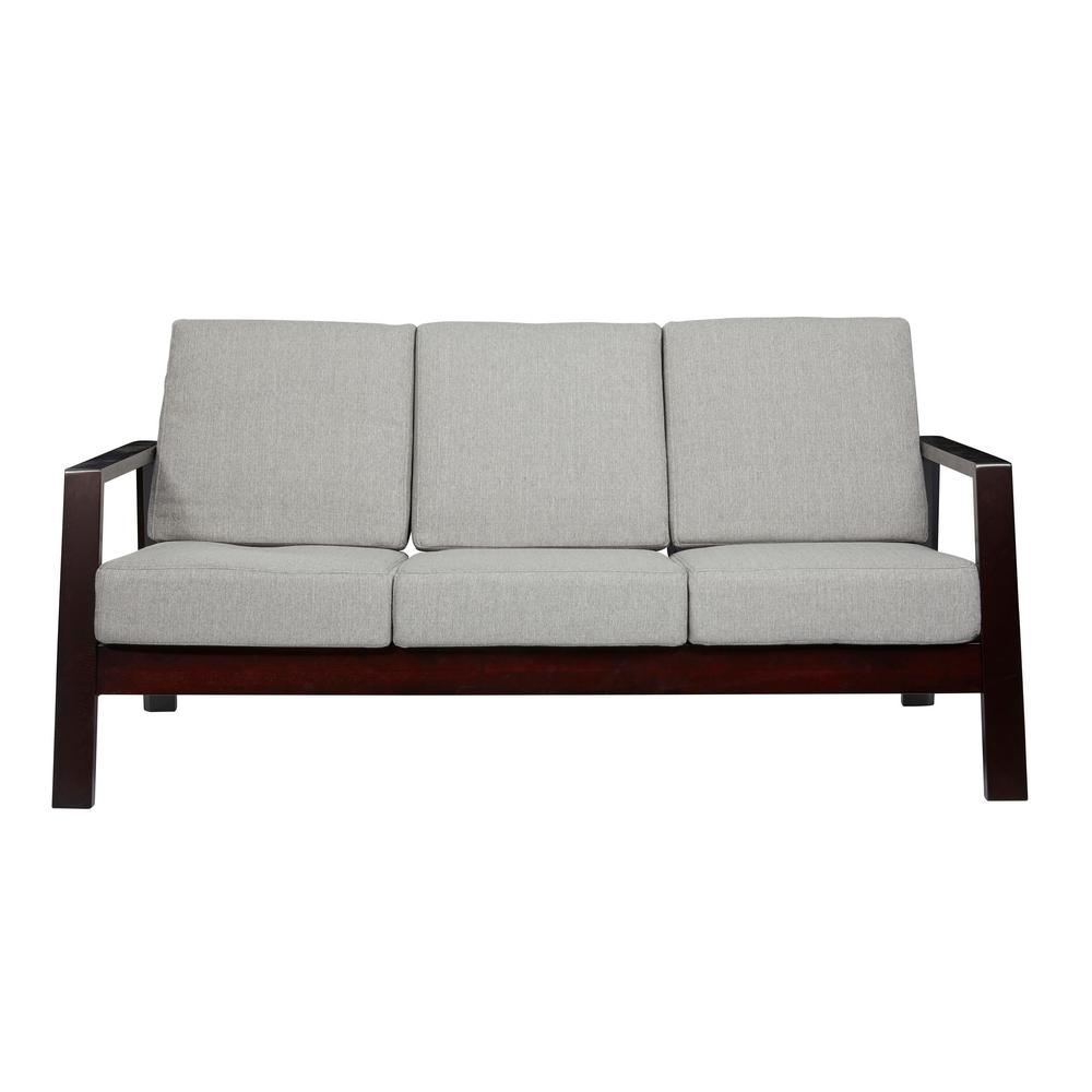 Handy Living Columbus Mid Century Modern Sofa With Exposed Wood Frame In Dove Gray Linen