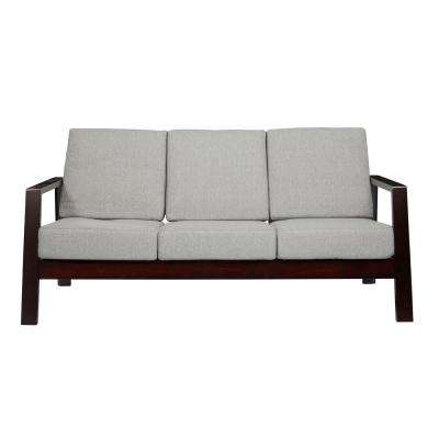 Columbus Mid Century Modern Sofa with Exposed Wood Frame in Dove Gray Linen