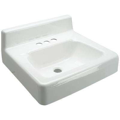 4 in. Centerset Wall Hung Cast Iron Vessel Sink in White