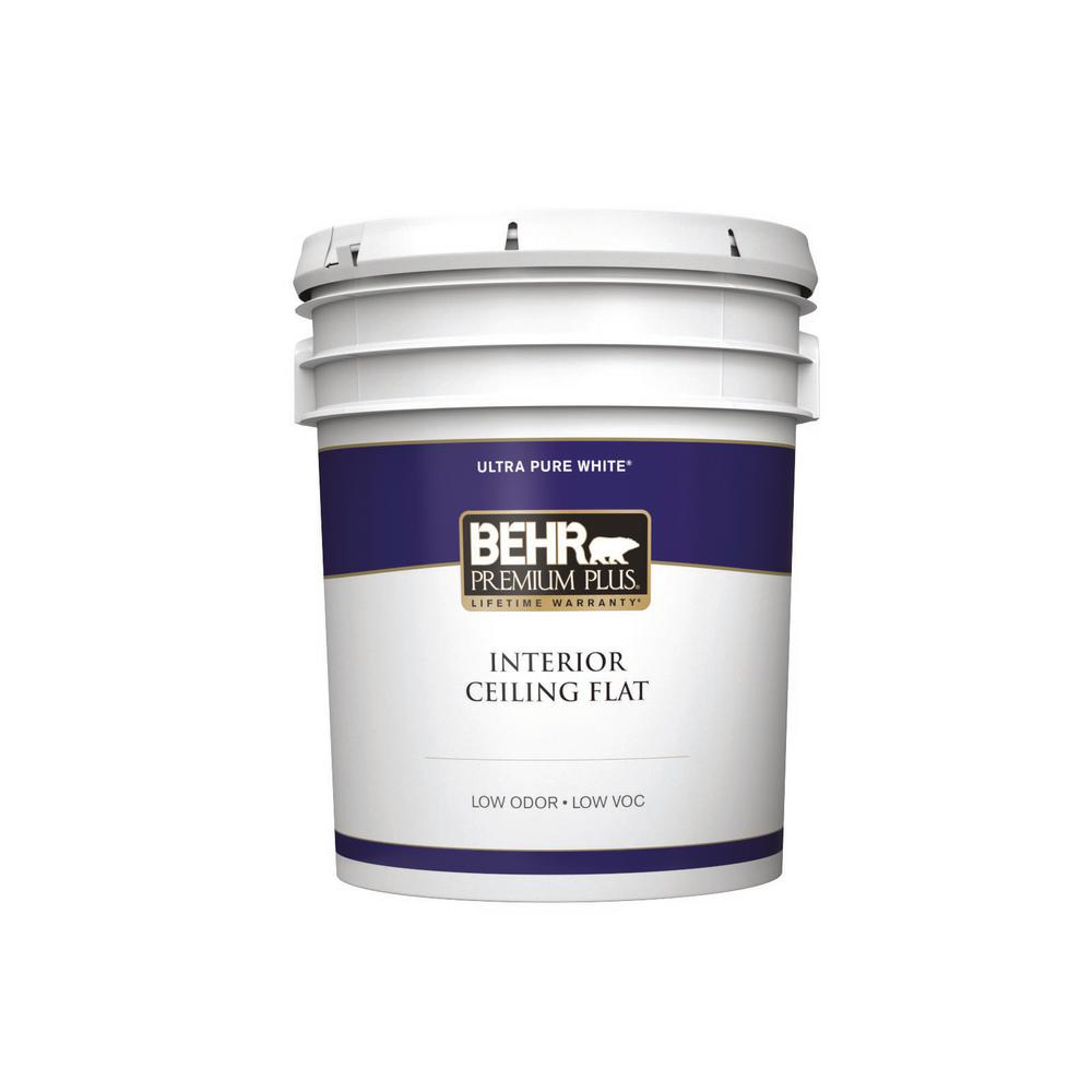 Behr Premium Plus 5 Gal Ultra Pure White Ceiling Flat Interior Paint 55805 The Home Depot