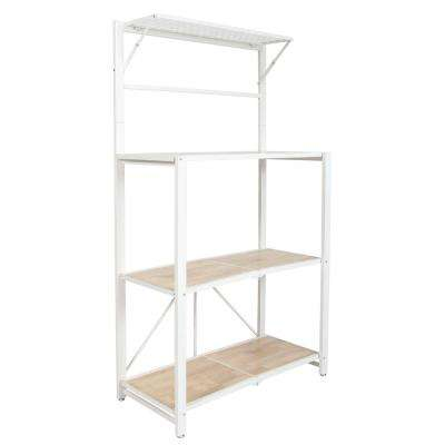 Folding 4-Tier Heavy Duty Steel Baker's Rack with Wood Shelf White