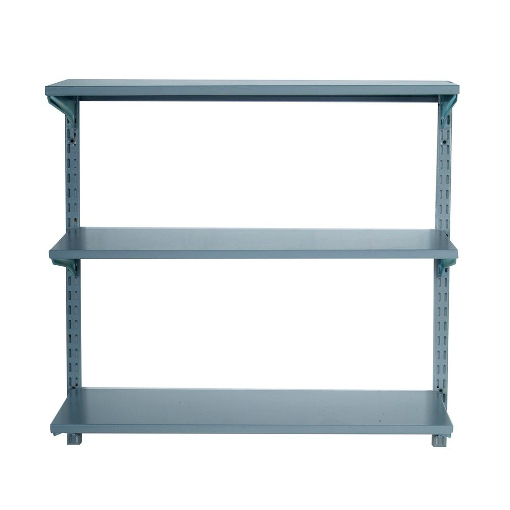 Storability 33 in. W x 31-1/2 in. H x 13-3/4 in. D Garage Modular Wall Shelves Track Storage System with Brackets in Steel