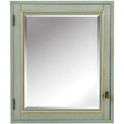 Dinsmore 24-1/2 in. W x 29 in. H Framed Wood Surface-Mount Bathroom Medicine Cabinet in Gilded Green