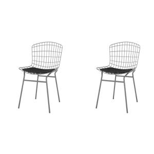 Madeline Charcoal Grey and Black Chair (Set of 2)