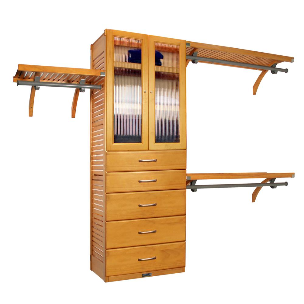 John Louis Home 16 In. Deep Deluxe Closet System With Doors And 5 Drawers (