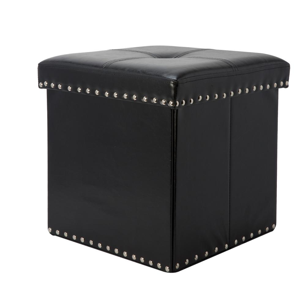 Simplify Black Single Folding Faux Leather Ottoman/Storage Cube With Studs