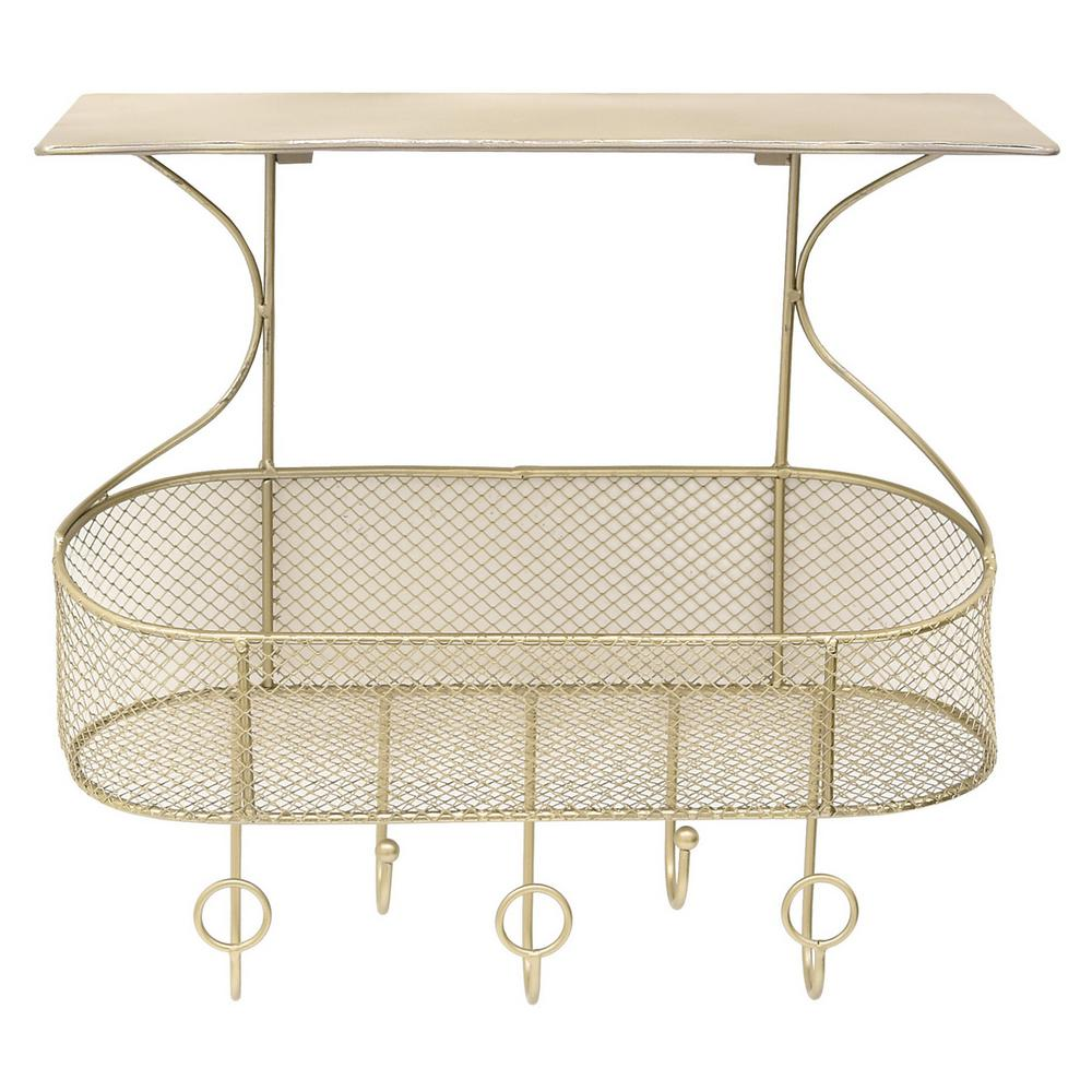 15.75 in. x 6.75 in. Champagne Metal Wall Storage Rack