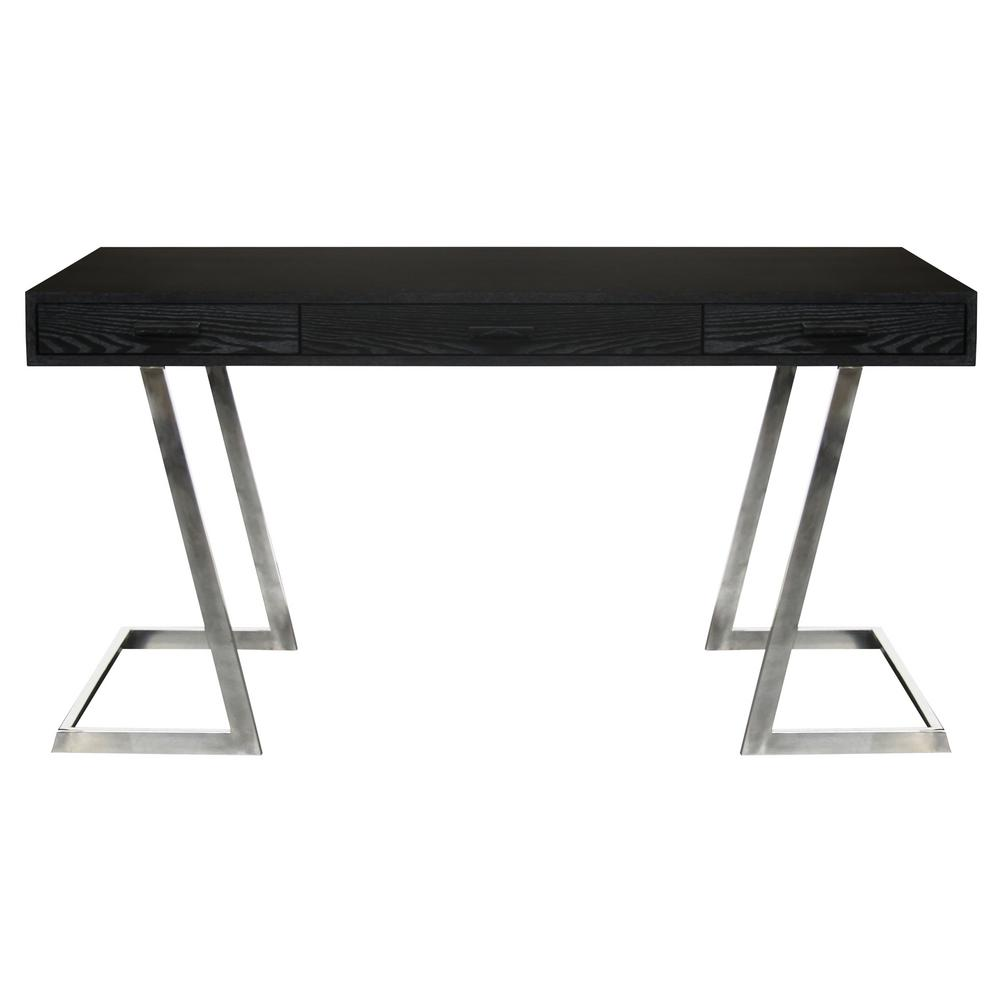 Armen Living Juniper Black Desk With Polished Stainless Steel Finish