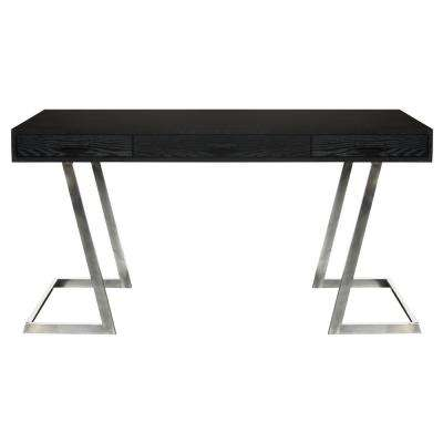 Juniper Black Desk with Polished Stainless Steel Finish