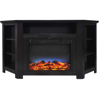 Tyler Park 56 in. Electric Corner Fireplace in Black Coffee with LED Multi-Color Display