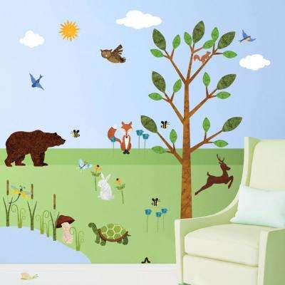 Forest Green Peel and Stick Removable Wall Decals Woodland Theme Mural (37-Piece Set)