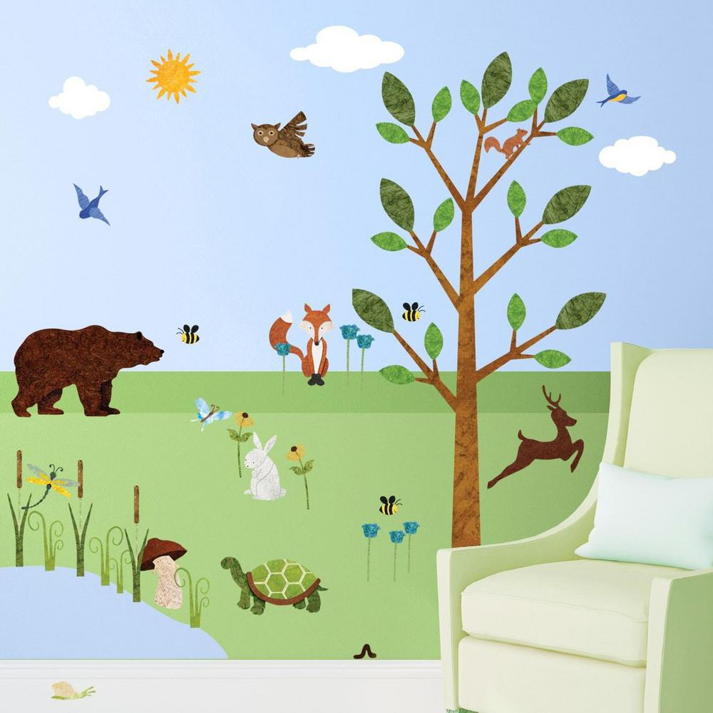 Forest Green Peel And Stick Removable Wall Decals Woodland Theme Mural  (37 Piece Set
