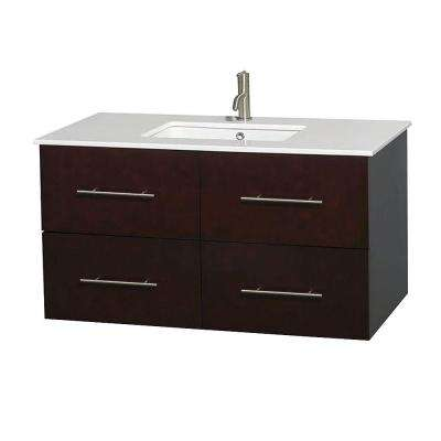 Centra 42 in. Vanity in Espresso with Solid-Surface Vanity Top in White and Undermount Sink