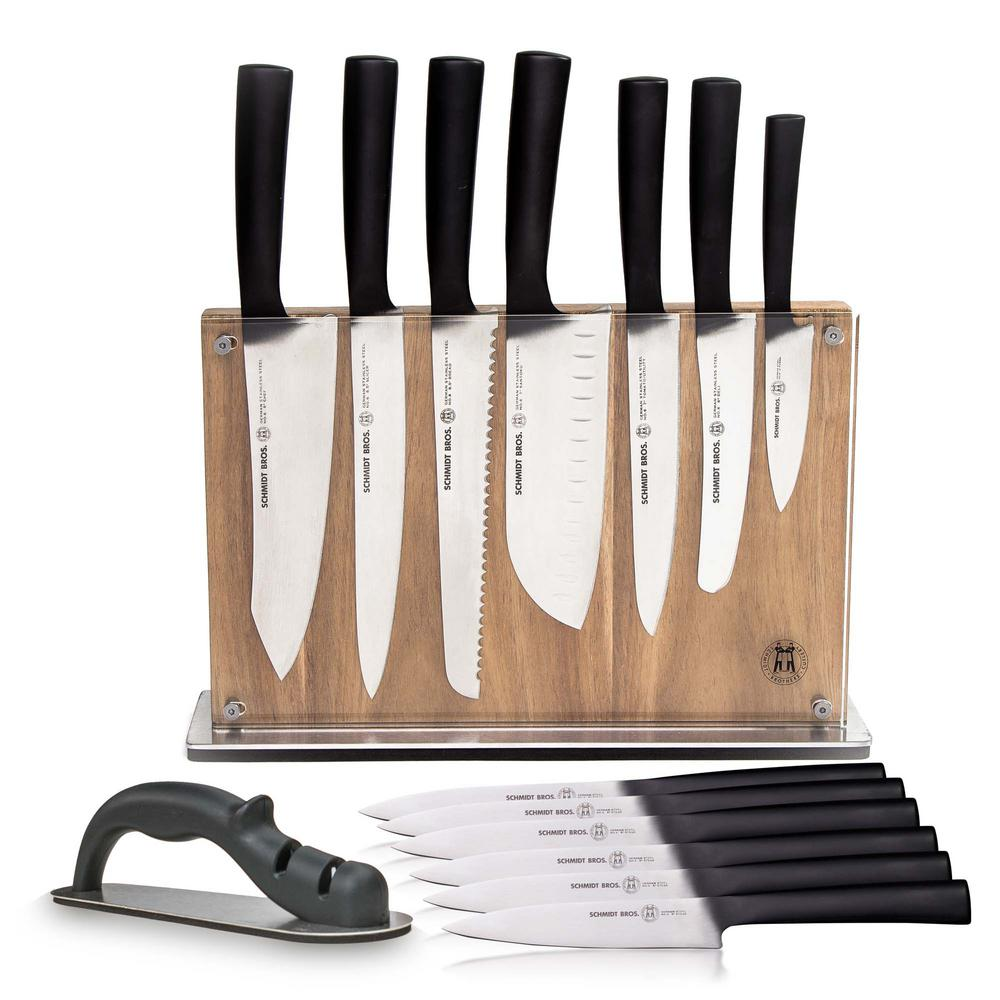 15-Piece Stainless Steel Carbon 6-Cutlery Set with Acacia Downtown Knife Block