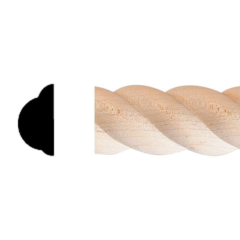 House of Fara 1/2 in. x 1 in. x 8 ft. Hardwood Rope Moulding