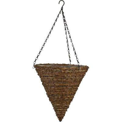 12 in. Vine Cone Coconut Fiber Hanging Planter with Brown Chain