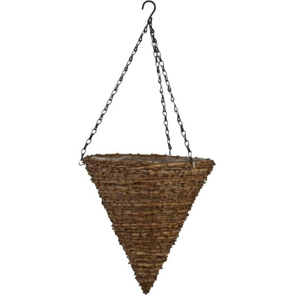 12 in. Vine Cone Hanging Planter with Brown Chain