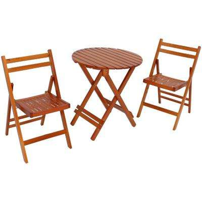 3-Piece Brown Wood Folding Outdoor Patio Bistro Set