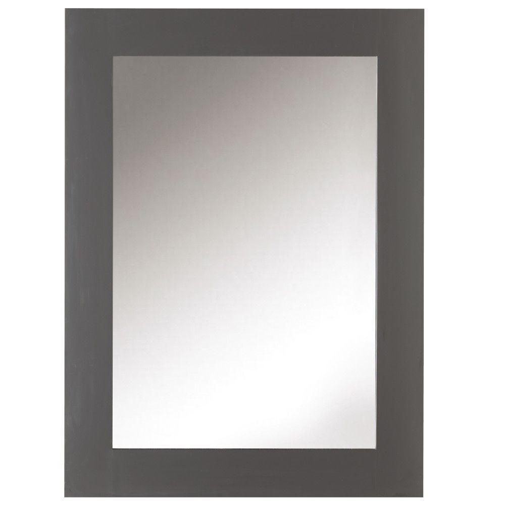 22 in. W x 30 in. H Framed Rectangular  Bathroom Vanity Mirror in Dark Charcoal