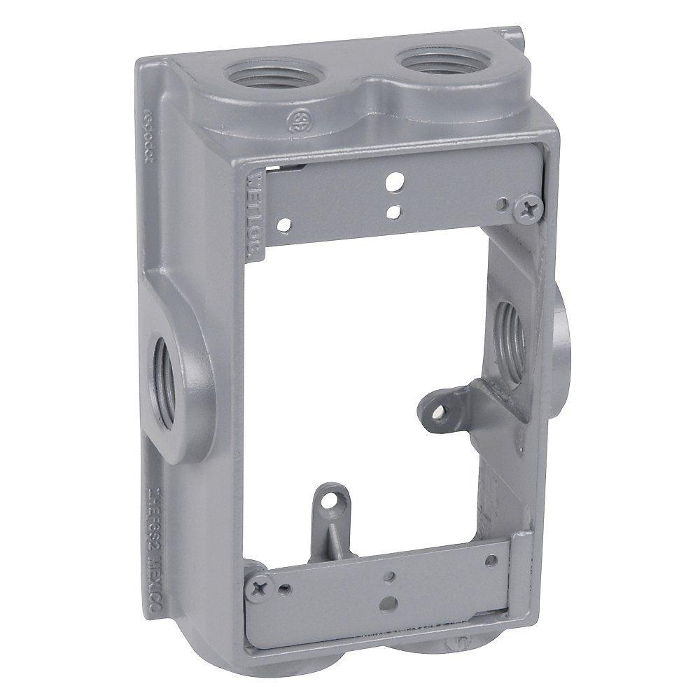 RedDot Red Dot 1-Gang Flanged Weatherproof Box Extension with 6 3/4 in. Holes, Silver