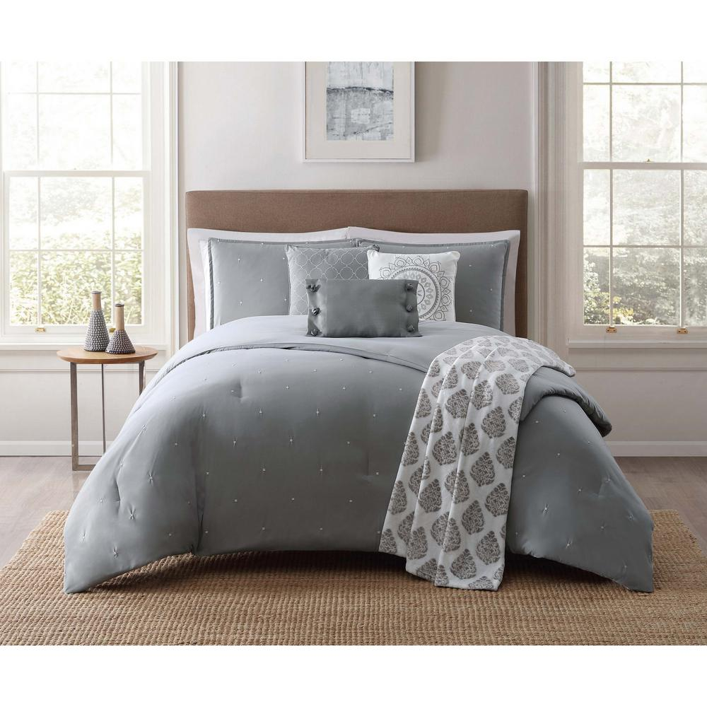 gray king comforter set Jennifer Adams Darby 7 Piece Gray King Comforter Set CS2139KG7  gray king comforter set