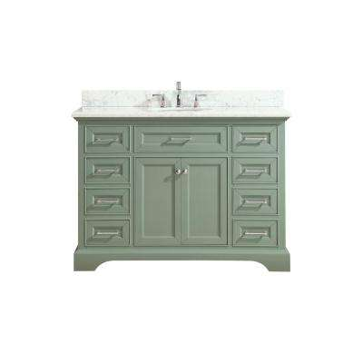 Mercer 49 in. W x 22 in. D x 35 in. H Vanity in Sea Green with Marble Vanity Top in Carrera White with White Basin